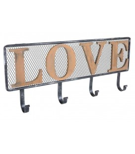 PERCHERO DE PARED METAL Y MADERA LOVE