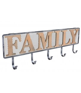 PERCHERO DE PARED METAL Y MADERA FAMILY
